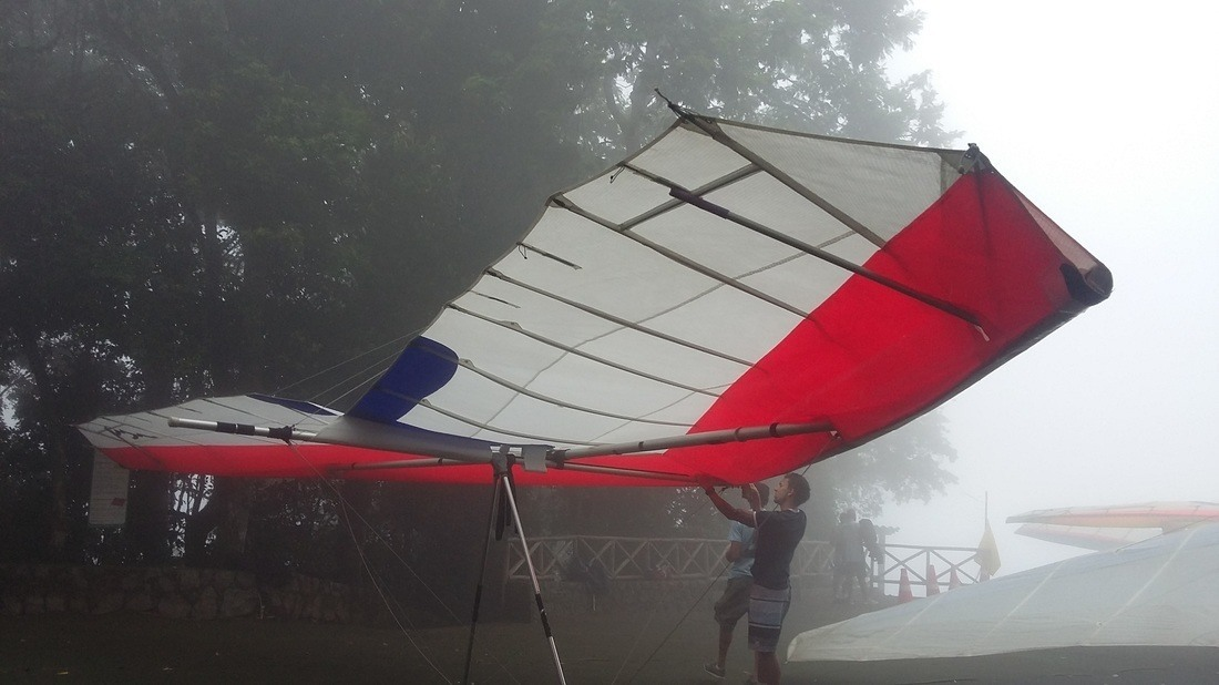Shyrwyn couldn't do hang-gliding because of the fog, Rio de Janeiro, Brazil